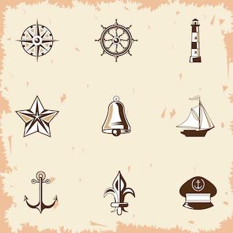 Nueve etiquetas náuticas iconos vintage