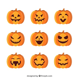 Nueve expresiones diferentes de calabaza de halloween