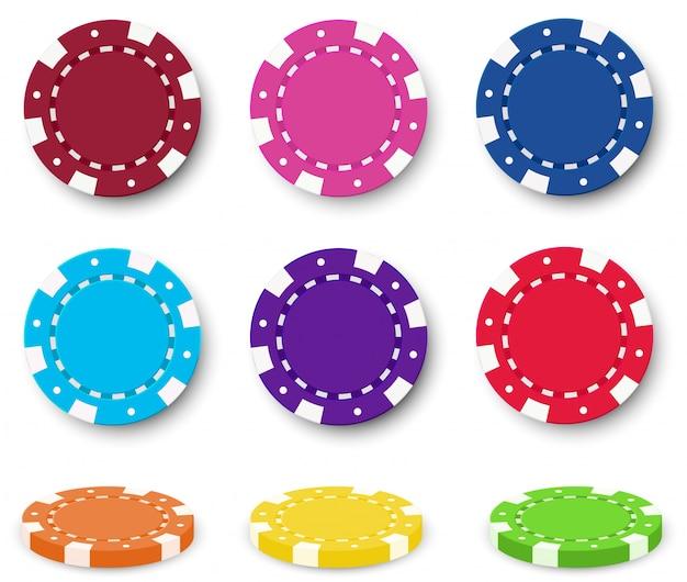 Nueve fichas de póquer coloridas
