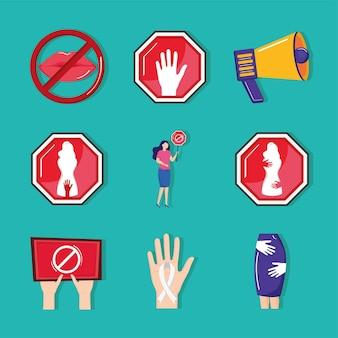 Nueve iconos de acoso sexual