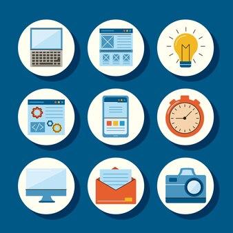 Nueve iconos de conjunto de diseño web