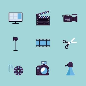 Nueve iconos de conjunto de producción de video
