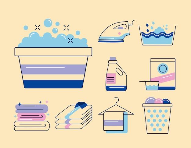 Nueve iconos de conjunto de servicio de lavandería