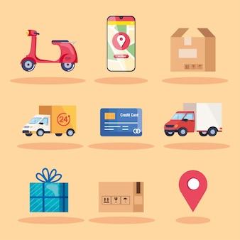 Nueve iconos de entrega