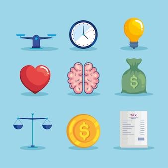 Nueve iconos de equilibrio económico