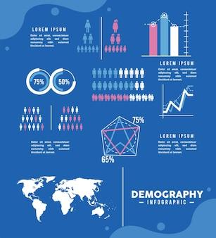 Nueve iconos de infografía de demografía