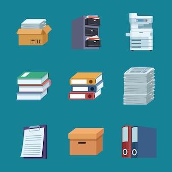 Nueve iconos de papeleo de oficina