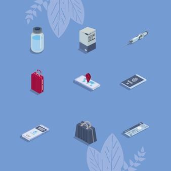 Nueve iconos de pasaporte de vacuna