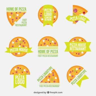 Nueve logos para pizza sobre un fondo blanco
