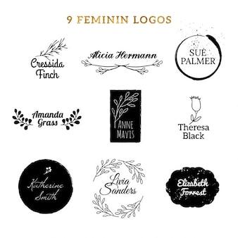 Nueve logotipos femeninos