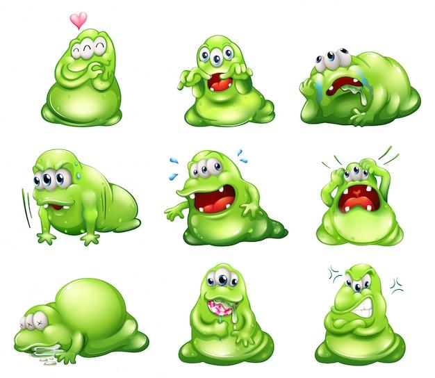 Nueve monstruos verdes participando en diferentes actividades
