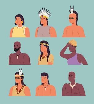 Nueve personajes aborígenes