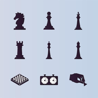 Nueve piezas de ajedrez