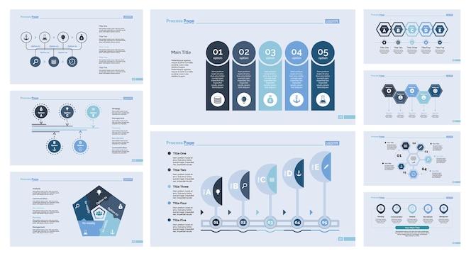 Nueve plantillas de diapositivas de gestión establecidas