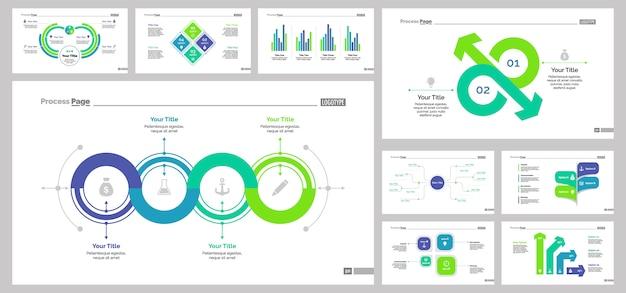 Nueve plantillas de diapositivas de negocios establecidas