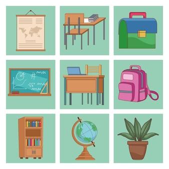 Nueve útiles escolares establecer iconos