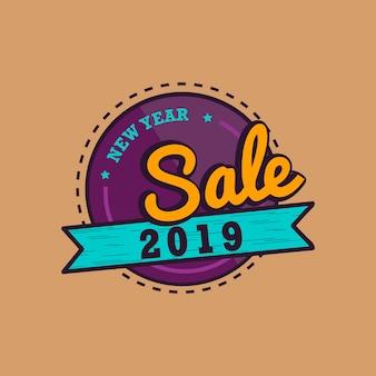Nuevo año 2019 venta emblema vector