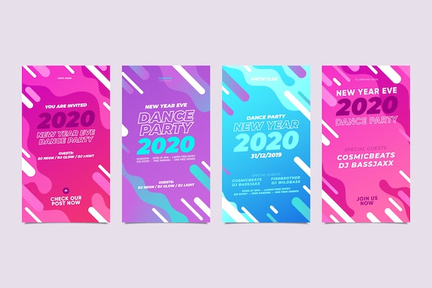 Nuevo año 2020 surtido de historias de instagram
