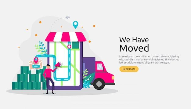 Nuevo anuncio de ubicación comercial o cambio de concepto de dirección de oficina.