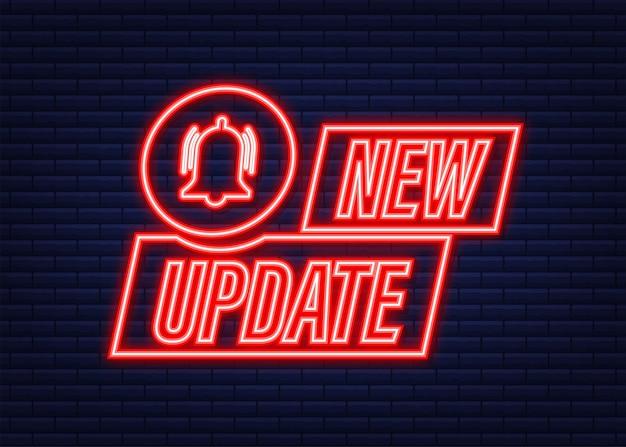 Nuevo banner de actualización en estilo moderno. icono de neón. diseño web. ilustración de stock vectorial.