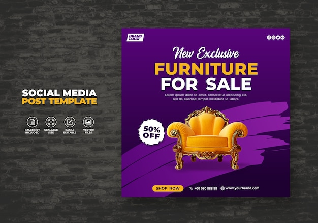 Nuevo banner promocional de muebles naranja moderno y exclusivo