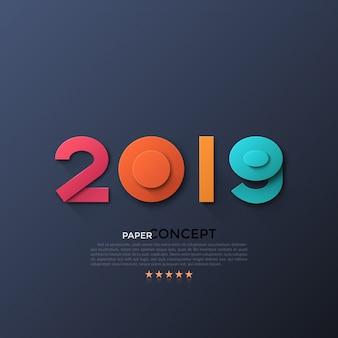 Nuevo cartel de celebración de 2019 años.