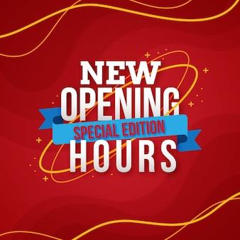 Nuevo cartel de horario de apertura de diseño plano