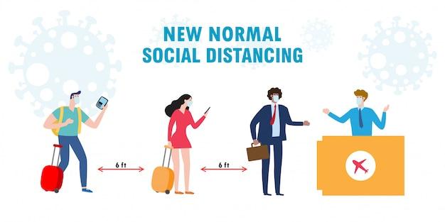 Nuevo concepto de distanciamiento social normal. personas diversas las diferentes nacionalidades usan máscaras médicas y mantienen la distancia en las colas de los mostradores para proteger la ilustración de estilo plano del coronavirus covid-19.