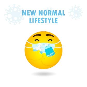 Nuevo concepto de estilo de vida normal emoticono emoji con máscara facial que abraza el gel de alcohol y el gel de lavado de manos para proteger el coronavirus 2019 ncov o covid-19, emoción de dibujos animados amarillos sobre fondo blanco