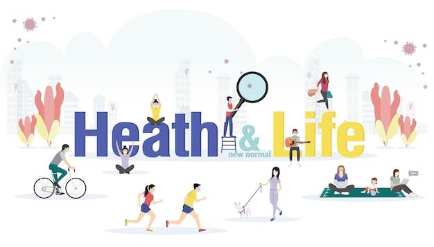 Nuevo concepto de ideas de vida y salud normal con personas que realizan actividades con prevención de brotes de enfermedades con mascarilla facial. en diseño plano de letras grandes.
