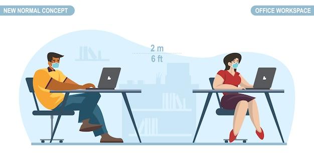 Nuevo concepto normal. distanciamiento social en sala de oficina. gente oficina trabajador hombre y mujeres con mascarilla médica. mantenga la distancia para prevenir la pandemia del virus corona o covid-19.