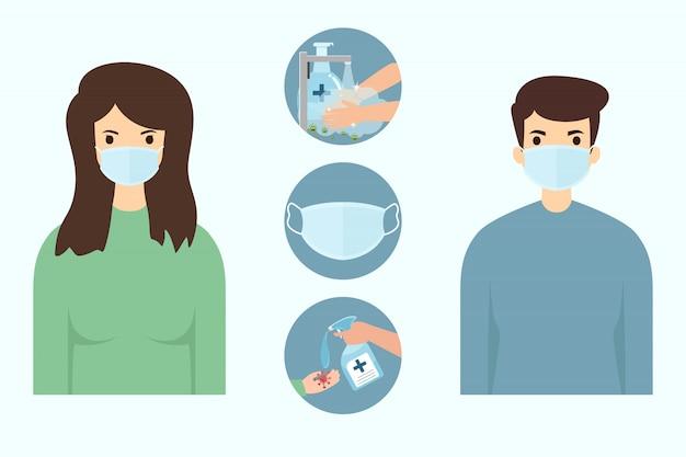 Nuevo concepto normal. nuevo estilo de vida de las personas después de la pandemia de coronavirus o enfermedad de covid-19. hombre y mujer con máscara y buenas prácticas para protegerse de la pandemia de propagación del coronavirus covid-19.