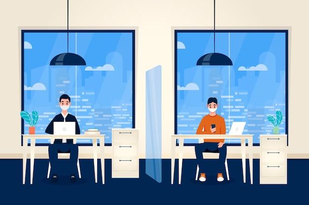 Nuevo concepto normal en la oficina