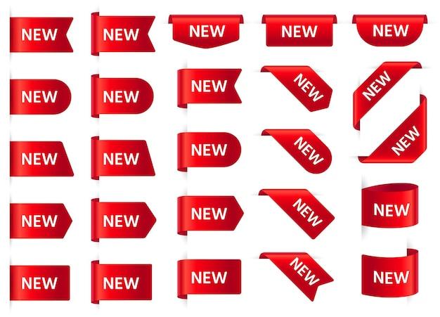Nuevo conjunto de etiquetas rojas