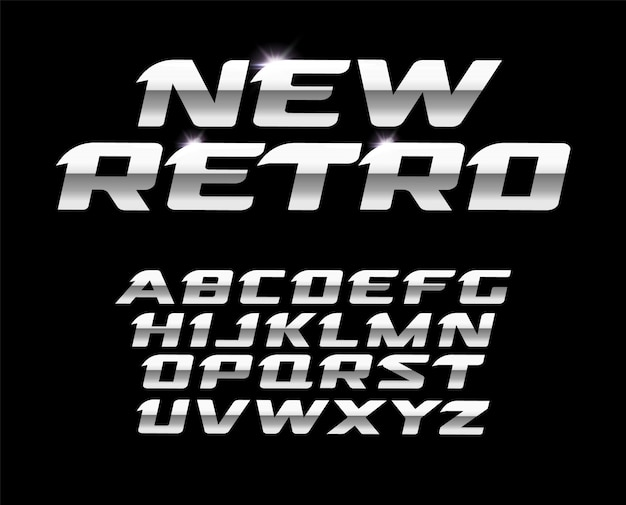 Nuevo conjunto de letras retro. diseño de tipografía de acero pulido.