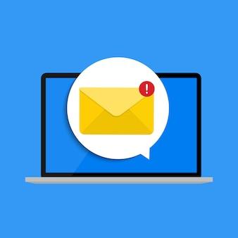 Nuevo correo electrónico en el concepto de notificación de la pantalla del portátil. ilustración