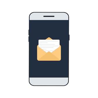 Nuevo correo electrónico en la pantalla del teléfono inteligente.