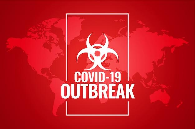 Nuevo diseño global de fondo rojo de brote de corobavirus