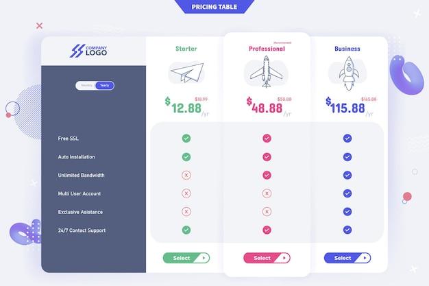 Nuevo diseño moderno de plantilla de tabla de precios de 3 planes