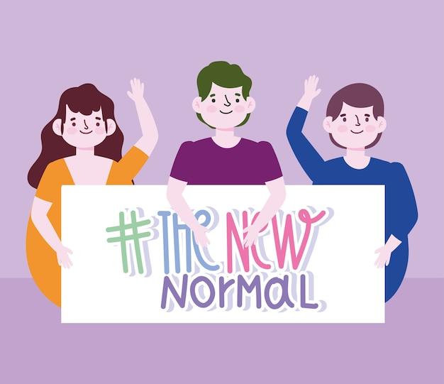 Nuevo estilo de vida normal, gente feliz con cartel nueva ilustración vectorial normal