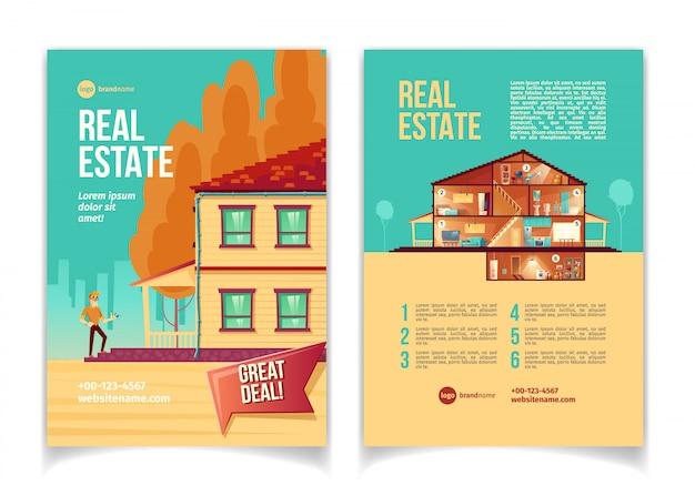 Nuevo folleto de publicidad de dibujos animados de objetos inmobiliarios, folleto con un hombre feliz de pie en la cabaña