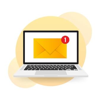 Nuevo icono de mensaje en la pantalla de la computadora portátil
