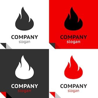 Nuevo juego de llamas de fuego, cuatro variantes para su logotipo