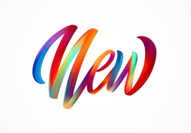Nuevo letrero de palabras, letras modernas y coloridas de flujo.