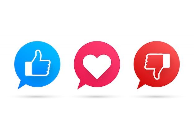 Nuevo me gusta y adora y disgusta los iconos. impreso en papel. medios de comunicación social. vector stock de ilustración.