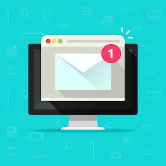 Nuevo mensaje de correo electrónico en la computadora