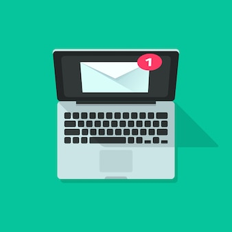 Nuevo mensaje de notificación de correo electrónico en computadora portátil vector de dibujos animados plana
