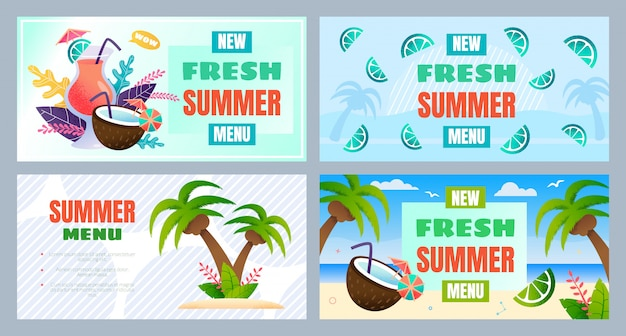 Nuevo menú de verano fresco banner publicitario conjunto
