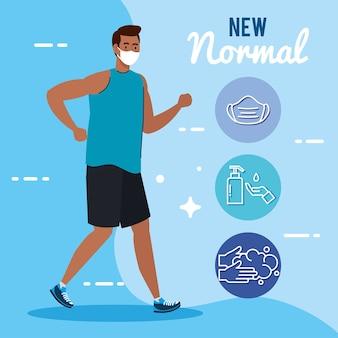 Nuevo normal de hombre con máscara corriendo y diseño de conjunto de iconos del virus covid 19 y tema de prevención