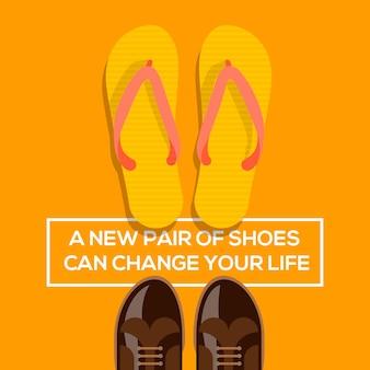 Un nuevo par de zapatos puede cambiar su concepto de vida.zapatos marrones y diseño de ilustración de chanclas naranjas.
